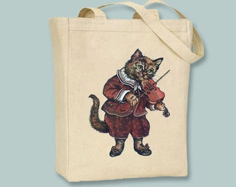 Cat and Fiddle, Violin, Vintage Illustration NATURAL or BLACK Canvas tote -- selection of sizes available