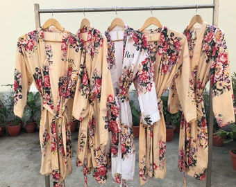 SALE Bridesmaids robes, cream floral robes, light yellow robes, pale yellow gowns, dull gold wraps, dusty gold gowns, getting ready robes