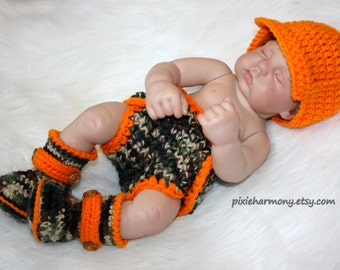 Baby Boy Hunter HAT DIAPER and BOOTIES - Newborn Photo Prop - Camo Orange - Hunting - also for Reborn Doll