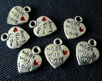 Destash (8) Made With Love Heart Charm - for pendants, jewelry making, crafts, scrapbooking