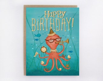 Happy Octopus - Birthday Greeting Card