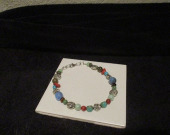 Flowers and Leaves Beaded Bracelet or Anklet