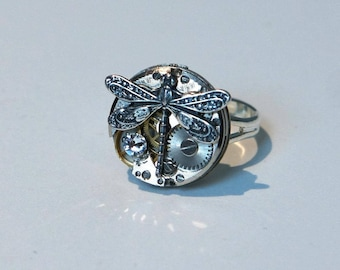 Old watch Dragonfly and Swarovski diamond ring