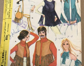 Vintage 1970 mccalls 2455 vests and accessories pattern