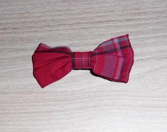 Red Plaid tartan bow hair clip