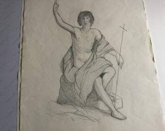 Pencil drawing depicting a Christ
