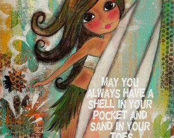 Surfer Girl Hula ART   11x14 PRINT Size. LIMITED number