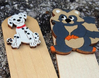 """Bookmark """"ANIMALS"""" hand painted plywood"""