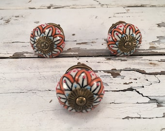 Tomato Knobs, Red Decorative Pull Knob, Craft Supply, Furniture Ceramic Drawer Pulls, Home Improvement Cabinet Supplies Item #469162956