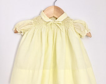 Hand-smocked Baby Togs 3M Yellow Baby Vintage Dress