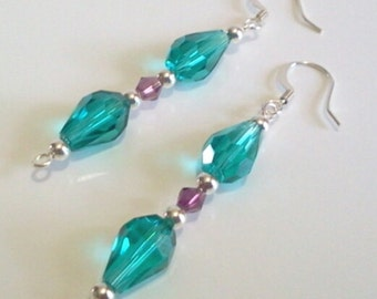 Teal Green Faceted Glass Teardrop and Purple Plum Crystal Bead Earrings, Handmade Beaded Jewelry, Office Attire Jewelry