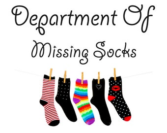 Laundry Utility Room Wall Decal Department Of Missing Socks Full Colour Sticker Novelty Funny Gift Washing