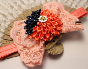 Kanzashi hand made headband with lace bow and pink flower baby girl band