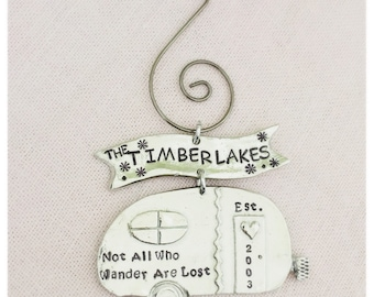 Personalized, Handstamped Camper Ornament, Family Christmas Ornament, All Those Who Wander Are Not Lost