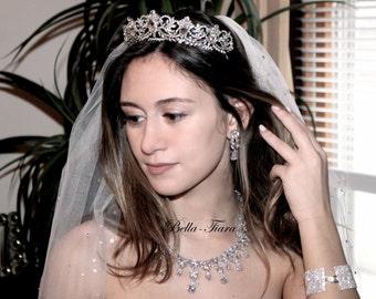 royal crystal wedding tiara, bridal tiara, Swarovski crystal crown, bridal crystal tiara, wedding tiara, crystal crown tiara, princess tiara