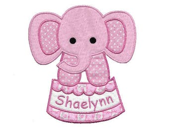 Elephant Circus Name Applique Machine Embroidery Design