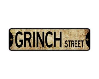 GRINCH ST Street Sign Rustic Vintage Retro Metal Decor Wall Shop Man Cave Bar