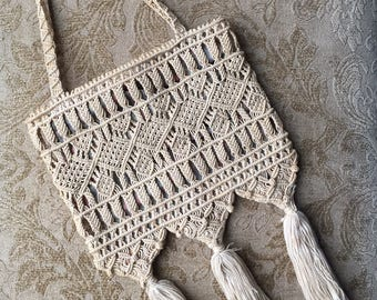 Antique Edwardian Purse, Antique Macrame Purse, Early 1900's Macrame Purse Bag