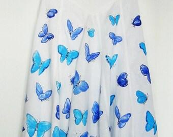 Hand-painted 100% linen skirt with butterflies US 8, UK 12, EUR 40