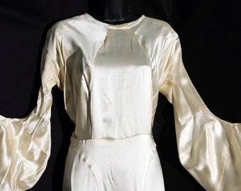 1930s Womens Ivory Silk Satin Wedding Dress Sz 2