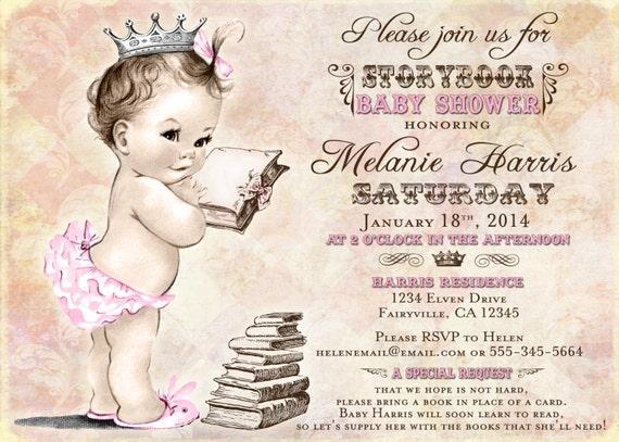 Girl Baby Shower Invitation Storybook Baby Shower Invitation