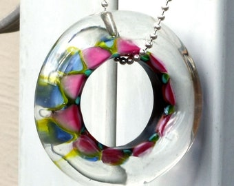 Large Colorful Harlequin Glass Lampwork Ring Bead with FREE Chain