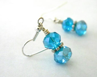 Aqua Glass Earrings Dangle Earrings Silver Color