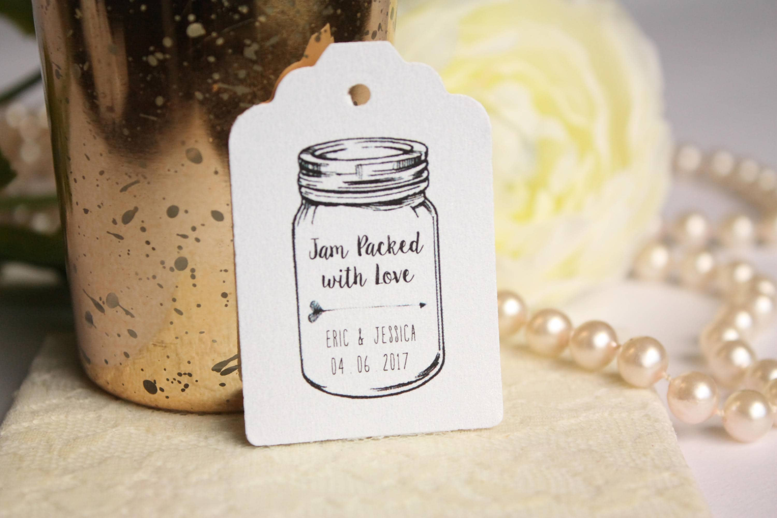 Jam Packed with Love Wedding Favor Tag Custom Rustic Mason