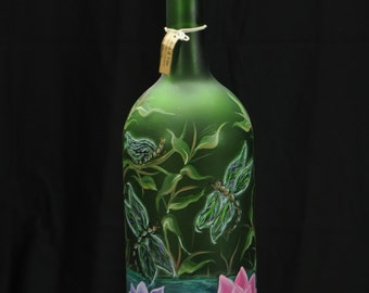 1.5 Ltr. Hand Painted Lighted Wine Bottle / Dragonflies Over Pond with Lily Pads And Bamboo Stalks / Green Bottle