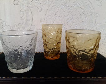 13 Anchor Hocking Lido Seneca Amber and Clear Tumblers and Juice Glasses