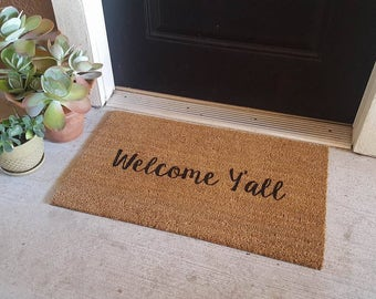 Welcome Y'all Doormat | Country Decor | Country Doormat | Southern Greeting | Southern Living | Cozy Porch Decor | Howdy