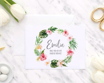 Tropical will you be my bridesmaid card, bridesmaid proposal card, will you be my, proposal card, bridesmaid card, bridesmaid proposal