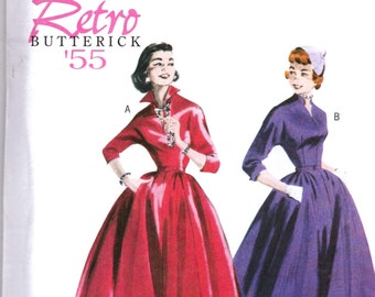 BUTTERICK RETRO 1955  DAY Dress Semi-fitted Bodice  Full Flair Skirt Pattern b5556 Misses Sz 8-14  Uncut Factory Folded
