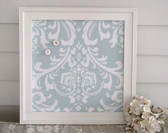 Cottage Magnet Board - Framed Bulletin Board with Handmade Wood Frame 14.5 x 14.5 Robins Egg Blue Damask Decorative Fabric
