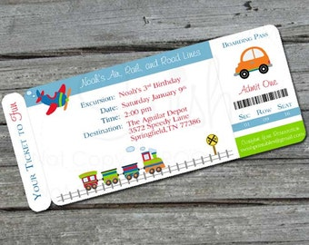 Transportation  Birthday Invitation | Digital Download | Train Party Invite | Boarding Pass Invite | Planes, trains and automobiles | first