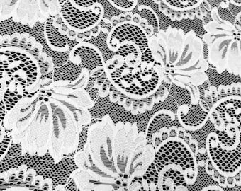 "White Stretch Lace Fabric Floral Embroidery Poly Spandex 58"" Wide BTY Wedding Apparel Victoria"