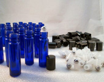 20PC Set. Real,Blue COBALT Glass 10Ml (1/3 Oz) You Choose Roller Ball empty Bottles for essential oils w/ UV-Protection, aromatherapy NEW!