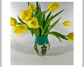 Ceramic Vase Stoneware Turquoise and Sgraffito Vase with tulips