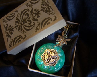 Absinthe Perfume Necklace - Delicate swirls of green, call the fairy....