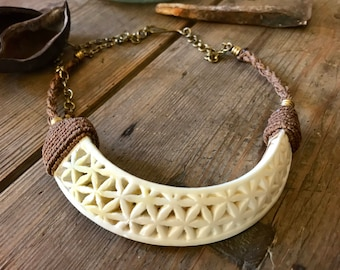boar tusk necklace, stunning handmade necklace; macrame; carved flower of life tusk, organic, hinduism