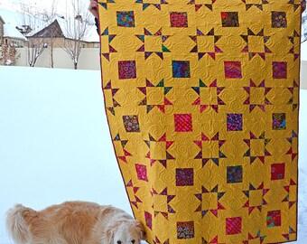 Modern quilt kaffe fassett yellow cloud 9 bright colors stars squares throw handmade patchwork blanket florals