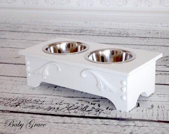 Dog Bowl Stand, Elevated Dog Bowl Feeder, Pet Furniture Farmhouse Luxury Pet Raised Dog Bowl Feeder Dog Bed Small Feeding Stand