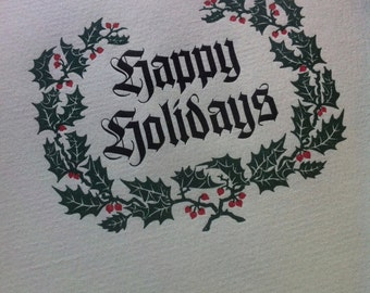 "Hand-Set Letterpress ""Happy Holidays"" Cards - 10-pack - A2 size"