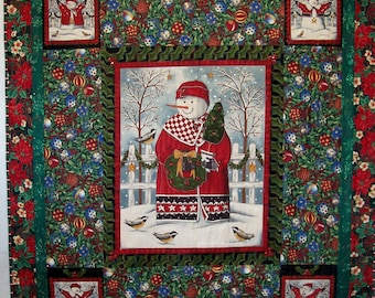 Snowman Christmas Patchwork Quilt, Embellished