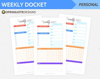 Filofax Personal Filofax Printable Weekly Planner, Weekly Docket, Week on One Page WO1P, Filofax Inserts, Personal Inserts, Planner Pages