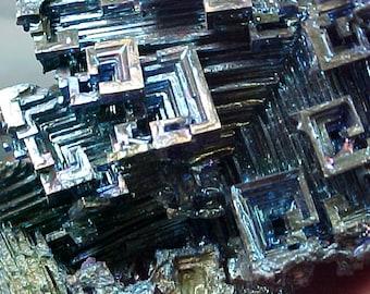 Rainbow Geometric Bismuth Crystal Mineral Specimen Excellent for Instilling Group Cohesiveness 015