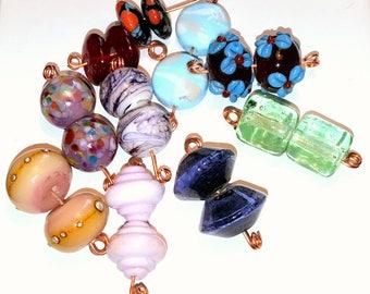 Ten pairs of handmade lampwork glass beads.  Perfect for earrings.