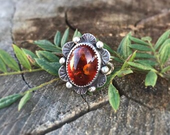 Baltic Amber ring, amber ring, sterling silver and amver ring, flower ring