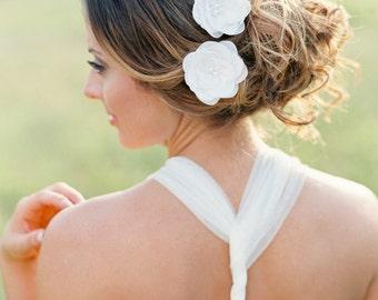 Bridal Flower Hair Pins Set of 2. Wedding Flower Hair Accessory.