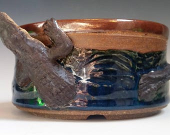 Round, Ceramic, Alligator Bonsai Pot; Sculpture